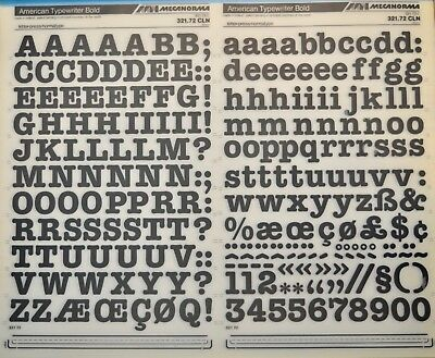 #169 American Typewriter 13mm Mecanorma Dry Transfer Lettering Sheet A3 Fonts