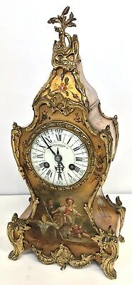 A D MOUGIN Antique VERNIS MARTIN Style Mantel Bracket Clock HOWELL JAMES Working