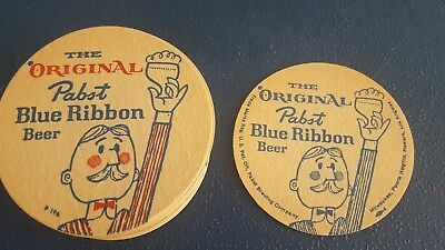 (VTG) 1960s PABST BLUE RIBBON BEER GUY STATUE Stack Of Coasters SIGN MAN CAVE