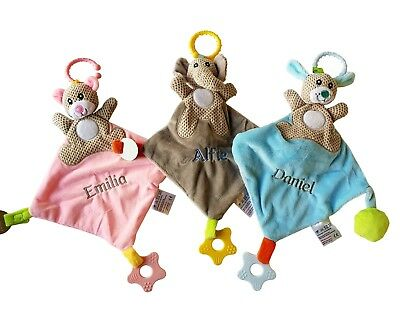 Personalised Embroidered Baby soother holder Comforter Toy Hang Car Seat Pram