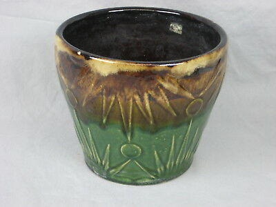 Vintage McCoy Pottery Brown Green Drip Glaze Moon Sun Planter Jardiniere Pot