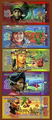 SET Equatorial Territories, 5;10;20;50;100 E. Francs, 2014-2015 POLYMER, UNC
