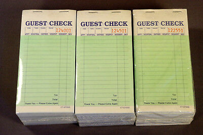 Restaurant Guest Check 2 Part Carbonless, 29 Pads 50 / Pad Total 1450, FREE SHIP