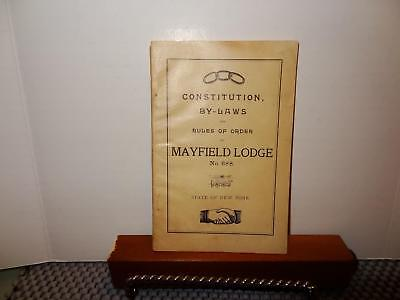 Constitution By-Laws and Rules of order,Mayfield Oddfellow Lodge No.668,New York