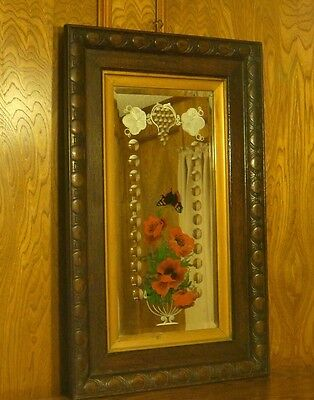 """Antique 32 1/2"""" Oak Wood Frame Etched with Convex Bubbles Beveled Glass Mirror"""
