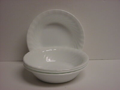 "4 Corelle Enhancements 18-oz Cereal / Salad Bowls 7-1/4"" (White Swirl) New"