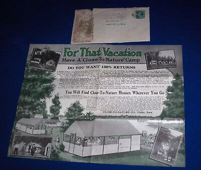 1921 Close To Nature Co. Outdoor Canvas House or Tent Brochure Colfax IA