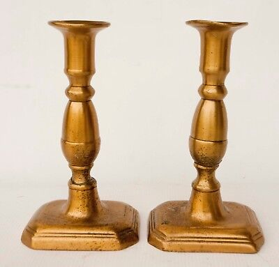 """Antique 1760 18th c Pair of Brass Candlesticks 7"""" Tall ,Square Base"""