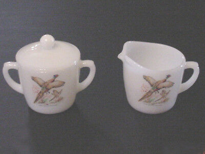 Fire King Creamer & Sugar Bowl w/ Lid Wild Game Birds Milk White Glass