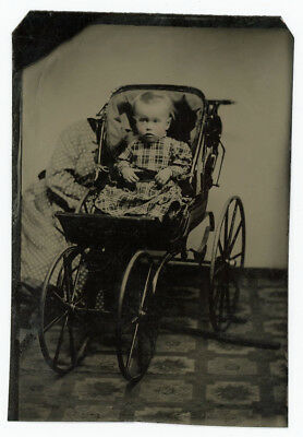 Baby Carriage Tintype Collection With Fantastic Hidden Mother 29 Antique Photos
