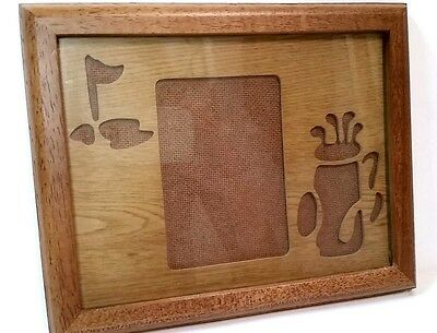 Vintage wood picture frame with golf bag and putting green theme