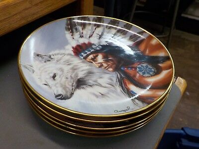 Lot/Set of 5 The Franklin Mint Heirloom Collector Plates- Native