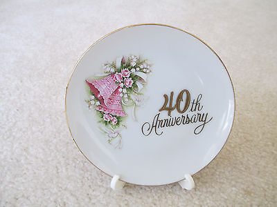 "40th Anniversary 1988 Enesco Corp. Made in Japan 4 1/2"" Plate with Stand"