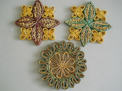 3 Vintage Straw Woven Hot Pad/Trivets Round and Square/Round