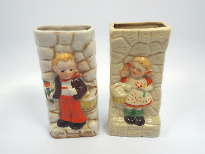 Vintage Pair of Japan Hummel Looking Boy & Girl with Baskets Wall Pockets