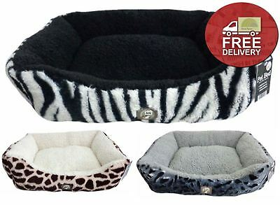 Animal Print Soft Pet Bed 66x56cm Soft Faux Fur Comfort Cat Dog Sherpa Plush