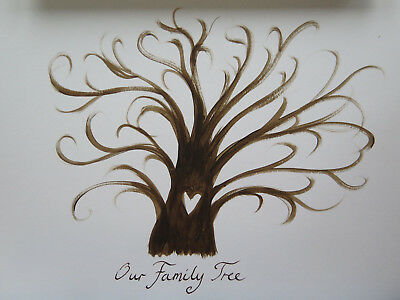 Finger Print Tree, A4 Family Tree, Unusual Unique New Years Party, Hand Painted