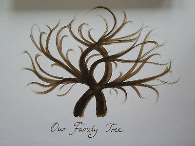 Finger Print Tree, A4 Family Tree, Unusual Unique Christmas gift, Hand Painted
