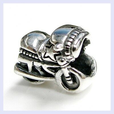 Sterling Silver Motorbike Motorcycle Vacation Bead for European Charm Bracelet