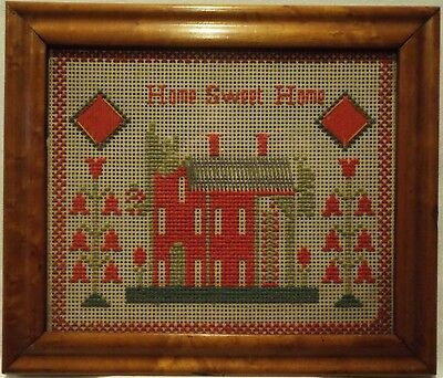 "SMALL LATE 19TH CENTURY RED HOUSE ""HOME SWEET HOME"" PUNCH PAPER SAMPLER - c.1890"