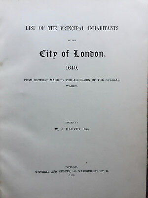 1886 - List of the principal inhabitants of the City of London in 1640