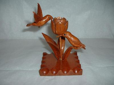 Wood Carving Hummingbirds On A Flower And Leaf Signed G. Greenway 4/22/91