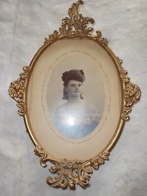 Antique Victorian Oval Ormolu Gold Gilt Metal Frame Orig Glass Gallery Sticker