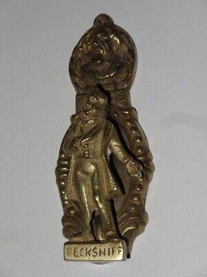 Antique Vintage Victorian Solid Brass Figural Door Knocker Dickens Pecksniff