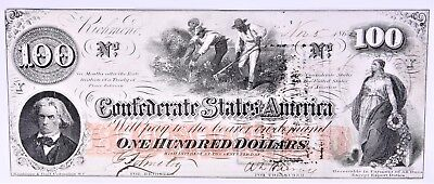 1862 $100 Confederate States of America Currency (a255.55)