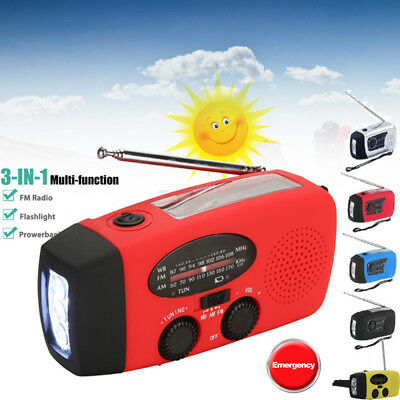 Solar Hand Crank Dynamo AM/FM/NOAA/WB Weather Radio LED Flashlight Emergency USA