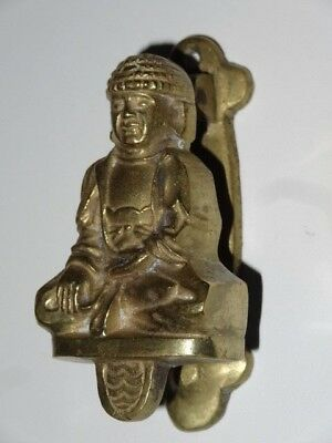 Antique Vintage Victorian Solid Brass Figural Door Knocker Buddah
