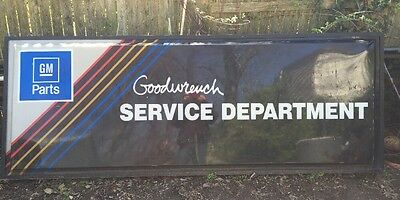 """Large Sign GM PARTS Goodwrench Service Center 8'x3'x4.75"""" Aluminum & Plastic"""