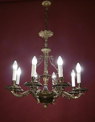 Antique & Beautiful Spanish Bronze Chandelier Vintage Lamp Old
