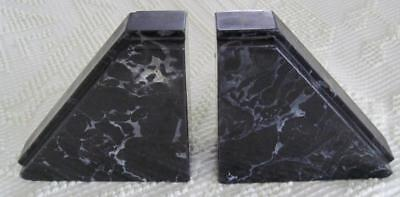Pair of Black Marble Art Deco Style Bookends