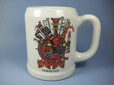Tonatiuh Aztec Sun God Ceramic Beer Mug Stein Collectible Souvenir Mexico Used