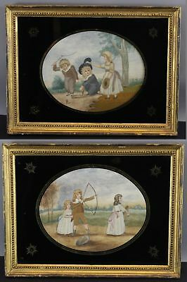 2 Antique 19thC Folk Art Embroidery Paintings of Victorian Children, No Reserve