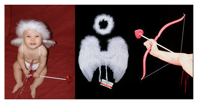 FashionWings (TM) Baby Cupid Pack: White Feather Angel Wings Halo Bow & Arrow
