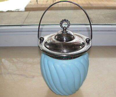 Vintage Blue Glass Swirl Silver Plate Biscuit Jar Consolidated Glass?