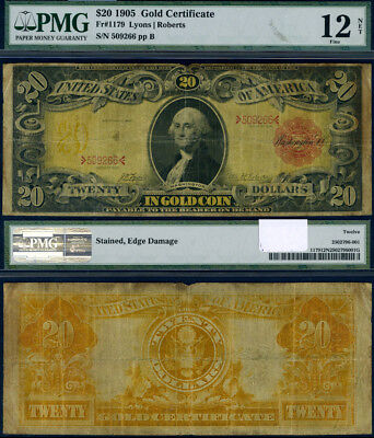 FR. 1179 $20 1905 Gold Certificate Stained Edge Damage PMG Fine12 NET