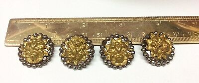 Lovely Lot of 4 Antique Cut Steel w/Gold Wash Flowers Buttons