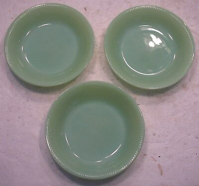 "3 Vtg Anchor Hocking Fire-King Ware Jadite Jadeite 7.5"" Soup Cereal Bowls USA"
