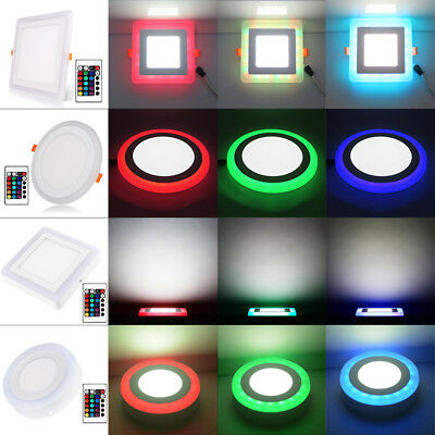 Round/Square Ceiling Lamp Concealed/Surface 24-Key RGB LED Panel Down Light 24F