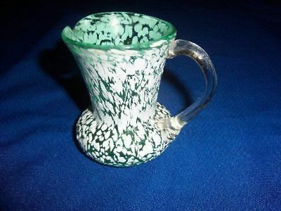Antique Green & White Nailsea Art Glass Creamer/ Small Pitcher w/Applied Handle