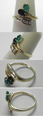 C601 Estate 14K Solid Yellow Gold Emerald Topaz Diamond Bypass Ring, Size 6