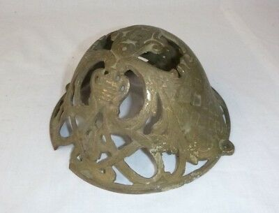 Vtg Antique Art Nouveau Ornate Cast Metal Dome Brass Lamp Part Damage Repurpose