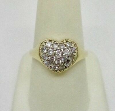 10K Yellow Gold Vintage Cluster Heart CZ Cubic Zirconia Ring Size 8