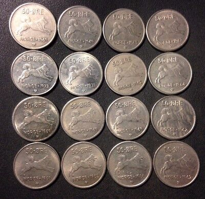 Vintage Norway Coin Lot - 50 ORE - ANIMAL SERIES - 16 Uncommon Coins - Lot #J19