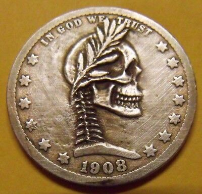 Hand Carved  Hobo nickel barber Silver  quarter skull zombie