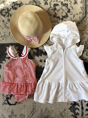 NWT Gymboree GAZEBO PARTY Girls 3-6 Mo Red Sailor Swimsuit, Cover-up & Hat