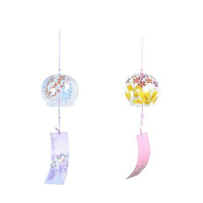 2x Japanese Glass Wind Chime Bell Hanging Ornament Gift Home Window Decor #4